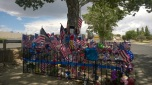 Here is the memorial, that grew quickly to overflowing.
