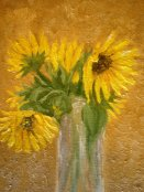 A close-up of my painting of the wild sunflowers.